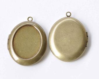 Antique Bronze Oval Bezel Photo Lockets  Set of 4 A8812