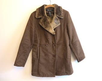 Camel Brown Womens Coat Double Breasted Warm Ladies Winter Jacket Faux Fur Lining Small Size