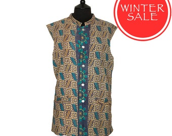 WINTER SALE - KANTHA Waistcoat - Beige with turquoise and blue. Reverse turquoise, black and brown - Large size