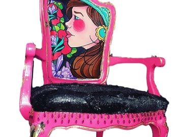 209 West x Nicole Thompson collaboration Accent chair - Crystal Healing - Galaxy Inspired Handpainted