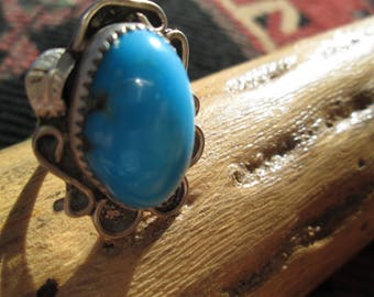 Native American Chrysocolla and Sterling Silver Feather Ring Size 6.25