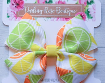 "Large 4"" yellow green orange lemon citrus lemonade theme hair bow hairbow"