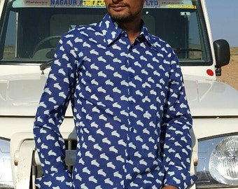 SALE-Man long sleeves Shirt made of Pure Cotton BLUE and WHITE combo bunnies handmade  Print