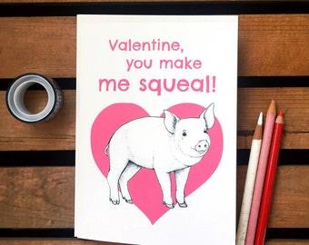 Pig Valentine. Pig Card. Cute Valentine. Valentine Pun Card. Nerdy Valentine. Squeal! Farm Animal Valentines. Piglet. Geeky Valentine.