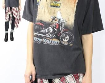 1991 Harley Davidson Tee / Vintage T-Shirt / 90s Grunge / New Zealand Motorcycle Tshirt / Made in the Australia