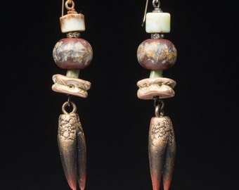 The Poet's Claws - Rustic ceramic, stone and glass stack earrings,  literary jewelry in subtle, earthy colors, unique OOAK