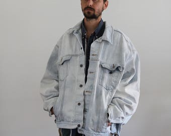 Oversized Bleached Denim Jacket Mens 2XL
