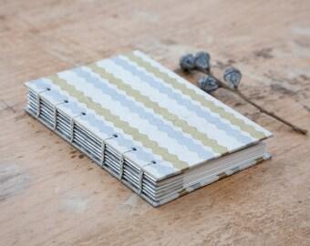 Hand Bound Sketchbook - Gold, Silver & White - Coptic Stitch - Zigzag Stripes - A6 / Small - Journal / Notebook - Stripy / Striped