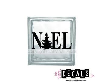 NOEL (with tree) - Christmas Vinyl Lettering for Glass Blocks - Holiday Craft Decals - Rectangle Block