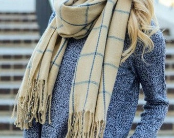 Dark Ivory with Blue Grid Blanket Tassel Long Over Sized Scarf Winter Women's Accessories
