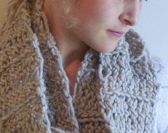 Heathered Oatmeal, Wool Scarf, Tan Wool Scarf / Cowl