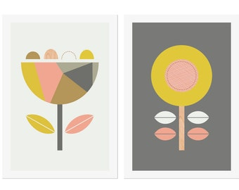 Scandi Flowers (Soft Pink), Series of Two Prints. Modern Nursery Art, Scandinavian Art, Modern Nursery Decor, Girl Room Art.