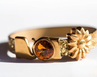 Handmade Gold Sparkle Sunflower 'Sunny Days' Leather Bracelet with Topaz Swarovski Crystal