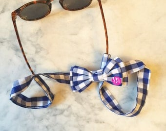 Personalized Bow Sunglass Strap {blue gingham}