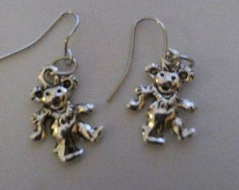 Tibetan Silver Dancing Bear Earrings & Corded Necklace