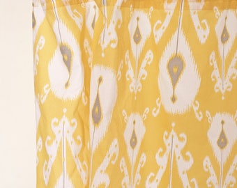 yellow ikat curtain panel cotton voile printed curtain sheer drape sizes available