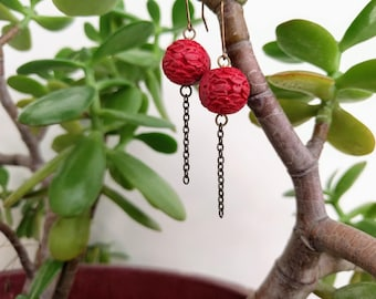 Red Cinnabar Earrings, Gold Chain Earrings, Chinese Carved Bead, Chinese Lanterns, Asian Inspired Jewelry, Handmade Dangle Earrings, Modern