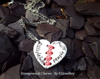 Hand Stamped 'Delightfully Tragic'  Aluminium Stitched Heart Necklace, Broken Heart, Mended Heart,Wirework,Unique, Metal Word Jewellery