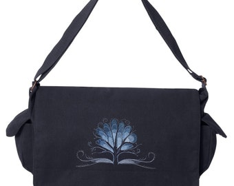 Jack Frost - Tree Embroidered Canvas Cotton Messenger Bag