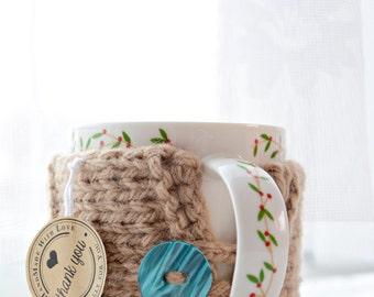 Tea cup cozy, Knit Coffee Cup Cozy, Mug warmer, Knitted cup cozy grey buttons, Mug warmer, Tea cozy beige