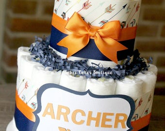 2 Tier Orange & Navy Arrow Diaper Cake, Tribal Baby Shower, Aztec, Boy Baby Shower Centerpiece, Arrow Cake, Orange Navy Centerpiece, Decor