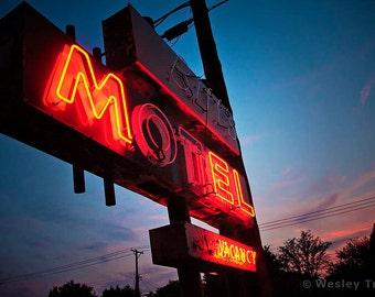 Biff's Motel - Roadside Neon Motel Sign Photograph