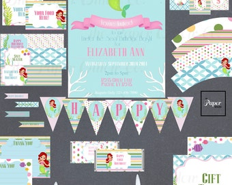 Mermaid Pink BIRTHDAY Set-DIY Printable-Instant Download-Editable File using Adobe Reader-Banner-Labels-Toppers-Tags-Wraps