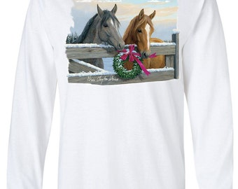 """Horse Lover's Christmas Shirt - """"Pasture Gate"""""""