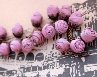 Fabric bracelet Rose bracelet Lilac textile bracelet Fabric jewelry Flower bracelet Floral jewelry Clusters bracelet Friendship bracelet