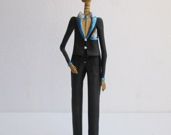 """MALE CATRINA  groom guy in suit clay mexican folk art day of the dead   12"""" TALL"""