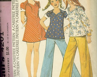 McCall's 4201 Girl's Dress or Top and Pants Sewing Pattern Size 10