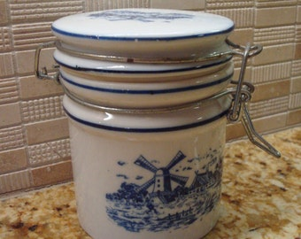 Vintage Blue & White Windmill Motif Canister - Telefloral - Excellent Condition!!