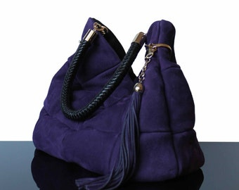 Shopping bag, hobo bag, violet, violet suede bag, suede bag violet, suede bags