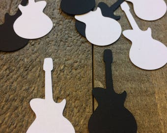 Black and White Guitar Table Confetti Table Decor Rockstar Rock N Roll Musician Song Music Theme Party C067