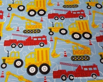 Flannel Fabric - Construction Trucks Red Yellow - 1 yard - 100% Cotton Flannel