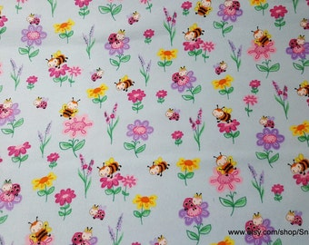 Flannel Fabric - Flowers and Buzzing Bees on Light Blue - By the yard - 100% Cotton Flannel