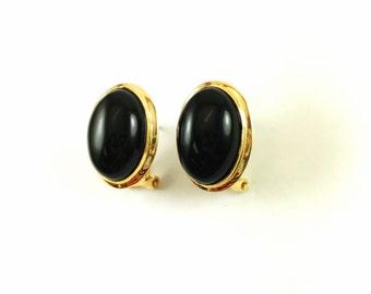 Vintage Black Onyx Cabochon French Back 14k Gold Earrings