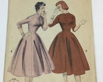 """Butterick 7126 Vintage 1950's Sewing Pattern: Empire Waist Dress With Full Skirt and 3/4 Sleeves, Size 15 (30"""" Bust)"""