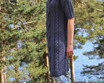 Instant Download PDF pattern. Hand knitted cable knit dress with short sleeves. Digital pattern from Ilze Of Norway. (0142)
