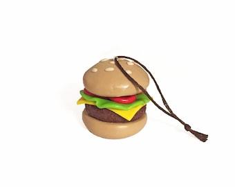Cheeseburger Ornament - Food Ornament - Christmas Ornament - Fast Food Ornament - Polymer Clay Ornament - Cute Ornament - Fake Food