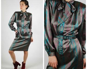 1980's Dress - 80's Secretary Dress - Silky Paisley Print Gucci Style Dress - Size M