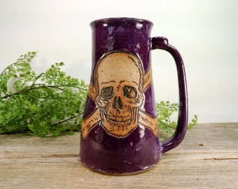 Jolly Roger Stein 28 oz - Purple - Wheel Thrown and Hand Carved Stoneware Beer Mug