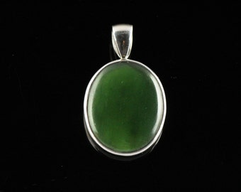 BC Jade Pendant Hand Bezel Set In Sterling Silver, Semi Precious Gemstone, Nephrite Jade JN13
