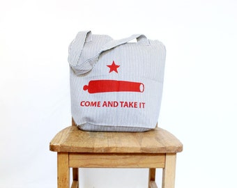Texas Canvas Tote Come and Take It Rustic Handmade Tote Railroad Stripe Denim Bag Red Blue Reusable Shopping Bag Southern Star Cannon Bag