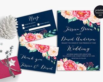 Pink Navy Wedding Invitation Printable, Floral Wedding Invitation Suite Blue Pink Peony Boho Wedding Invitation Printable Wedding Invitation