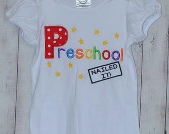 Personalized Graduation Preschool Kindergarten Nailed It! Applique Shirt or Onesie
