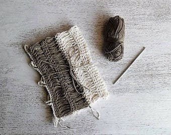 French cafè curtains rustic off white and brown crochet - MADE TO ORDER