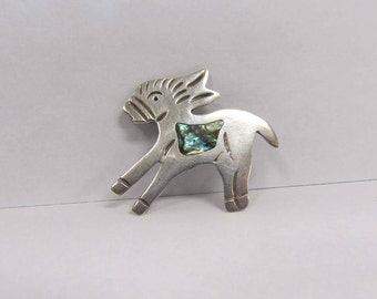 Vintage Sterling Silver Donkey / Jackass Pin with Abolou Shell W #729