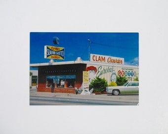 Vintage Postcard 60s 70s Seafood Grotto Eureka CA travel souvenir Restaurant neon sign tourist California clam chowder continental