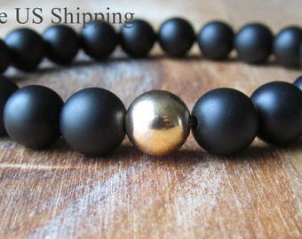 Matte Onyx and Gold Filled Bracelet, Matte Black Onyx,Beaded Gemstone Bracelet, Gift for Men, Men's Jewelry, Mens Bracelet, Gift for Him
